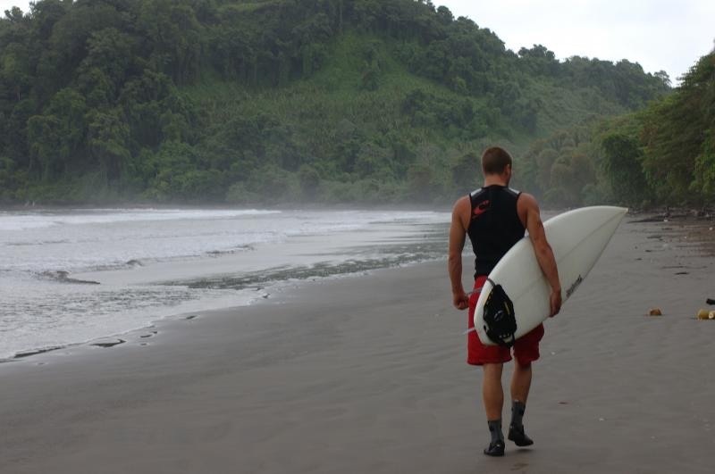 Walking down the beach of  the Panama Surf Camp